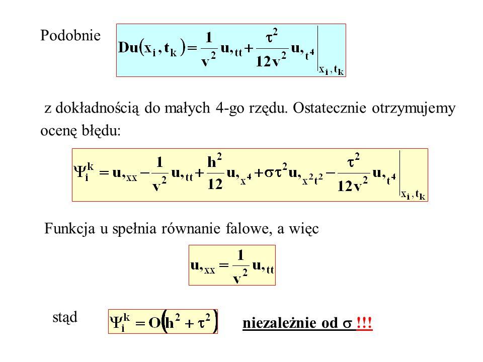 Podobniez dokładnością do małych 4-go rzędu. Ostatecznie otrzymujemy. ocenę błędu: Funkcja u spełnia równanie falowe, a więc.