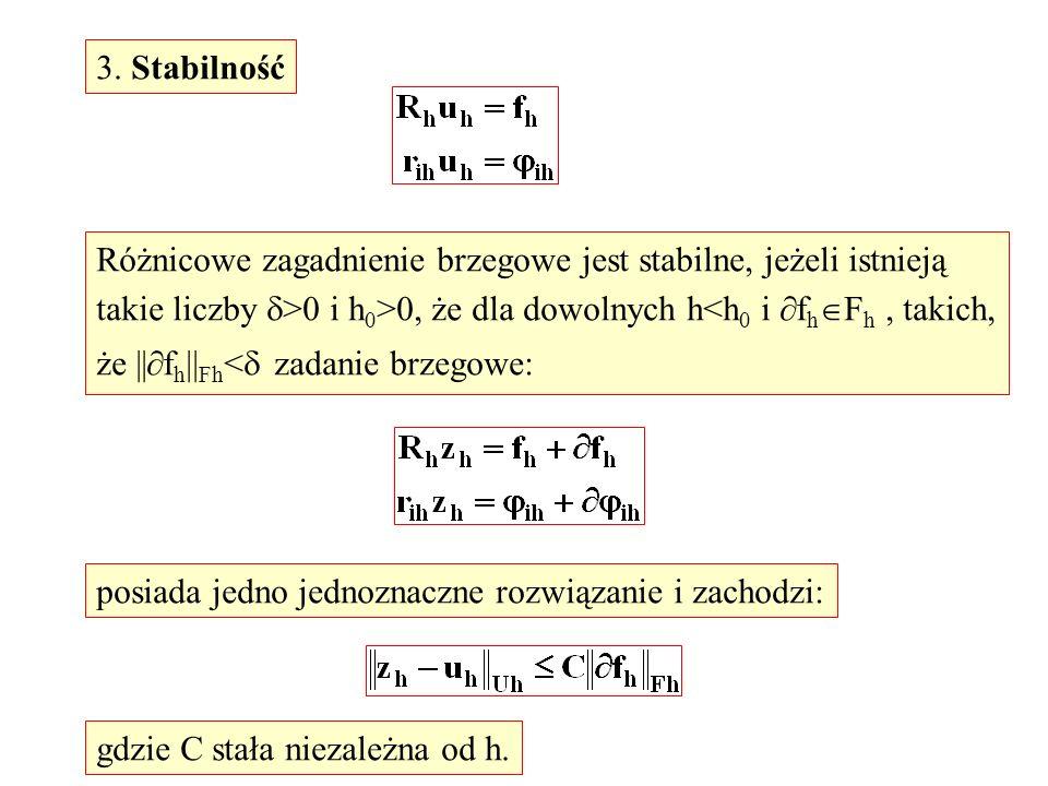 3. StabilnośćRóżnicowe zagadnienie brzegowe jest stabilne, jeżeli istnieją. takie liczby >0 i h0>0, że dla dowolnych h<h0 i fhFh , takich,