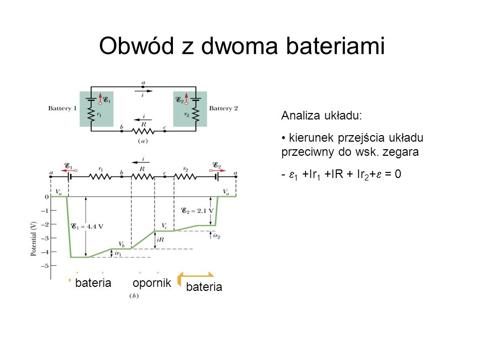 Obwód z dwoma bateriami
