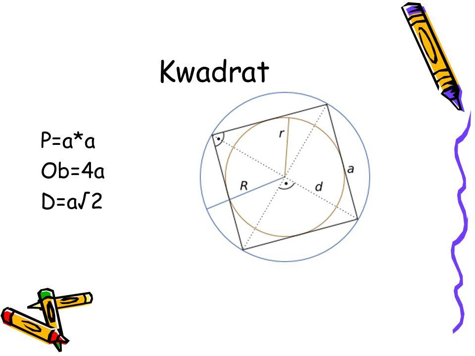 Kwadrat P=a*a Ob=4a D=a√2
