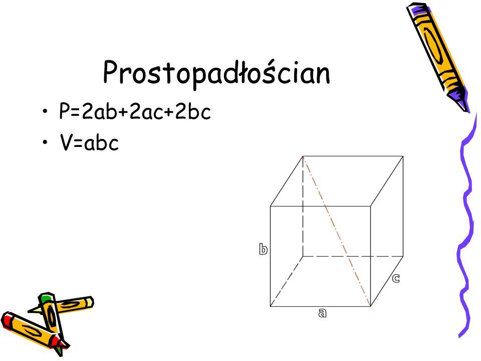 Prostopadłościan P=2ab+2ac+2bc V=abc