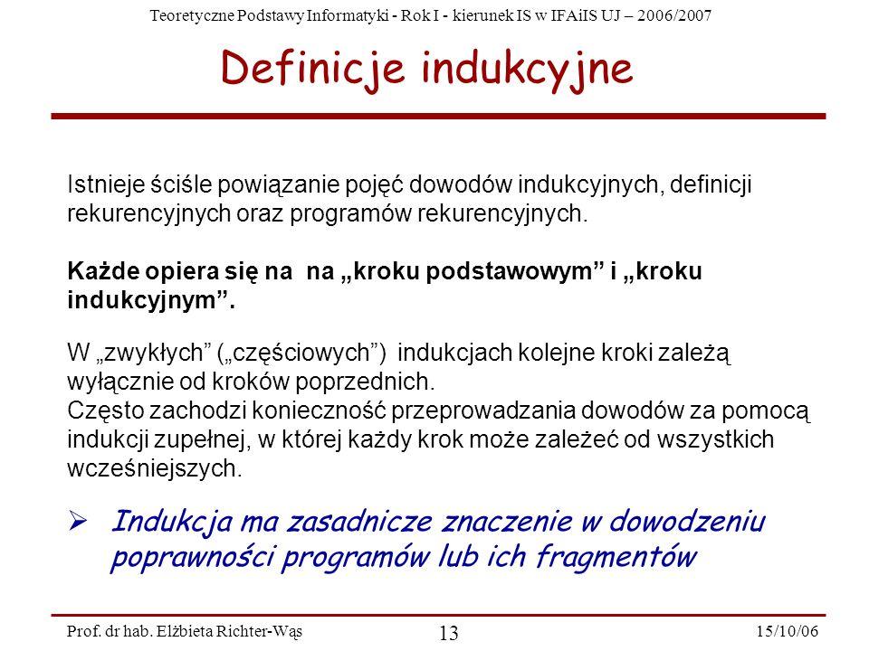 Definicje indukcyjneIstnieje ściśle powiązanie pojęć dowodów indukcyjnych, definicji rekurencyjnych oraz programów rekurencyjnych.