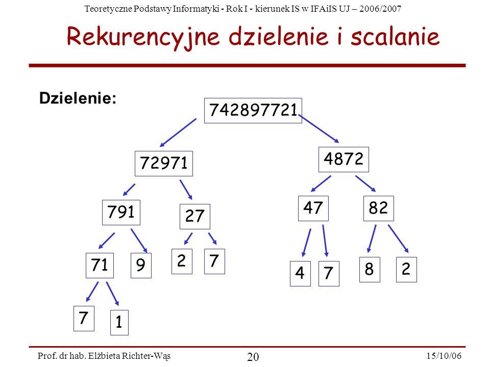 Rekurencyjne dzielenie i scalanie