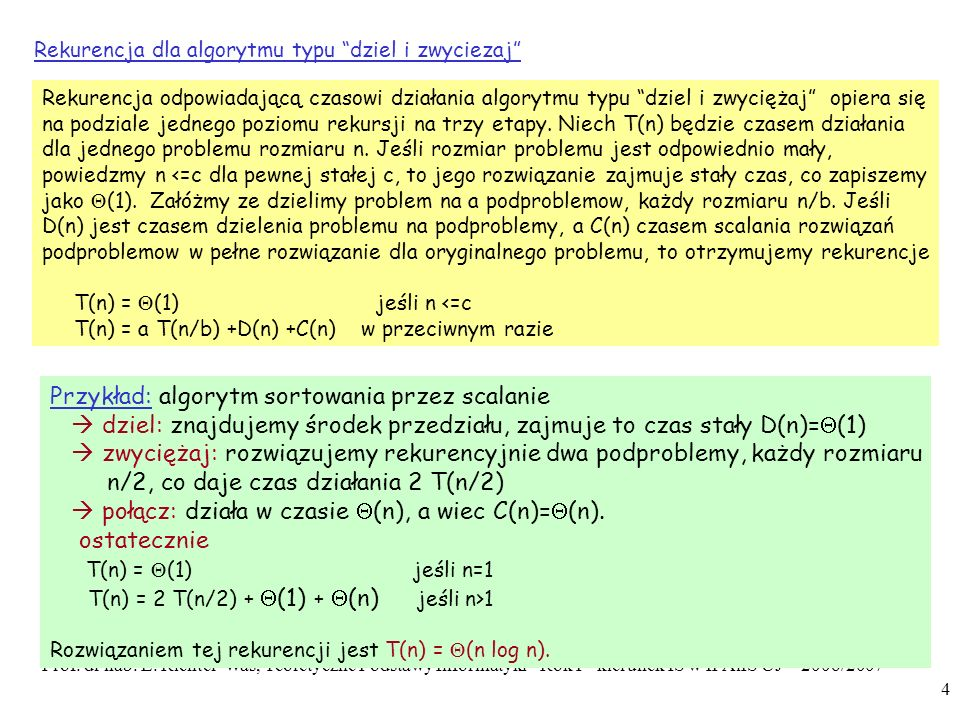 Przykład: algorytm sortowania przez scalanie