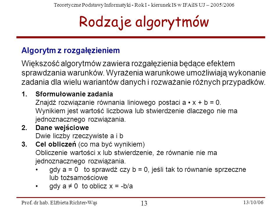 Rodzaje algorytmów Algorytm z rozgałęzieniem