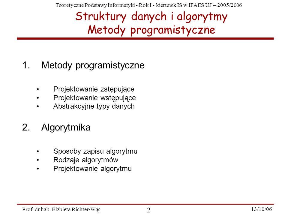 Struktury danych i algorytmy Metody programistyczne
