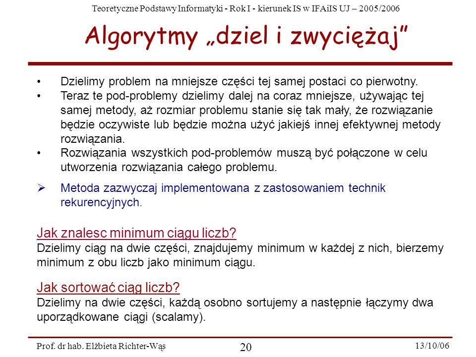 """Algorytmy """"dziel i zwyciężaj"""