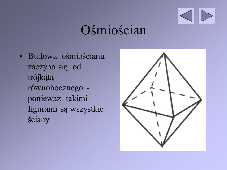 Ośmiościan Budowa ośmiościanu zaczyna się od trójkąta równobocznego - ponieważ takimi figurami są wszystkie ściany.