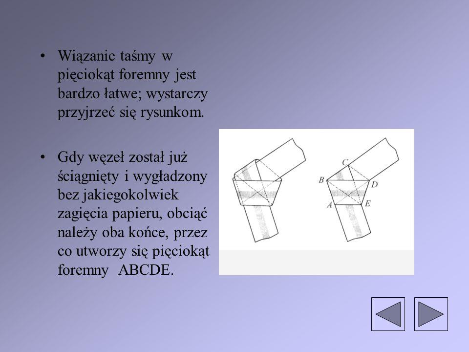 Wiązanie taśmy w pięciokąt foremny jest bardzo łatwe; wystarczy przyjrzeć się rysunkom.