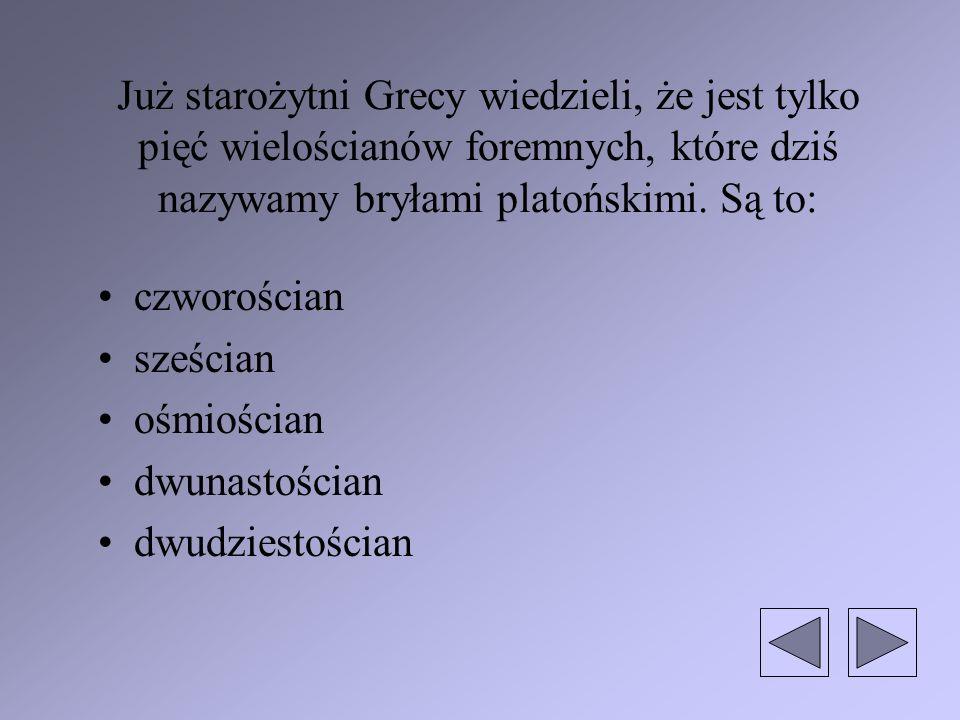 Już starożytni Grecy wiedzieli, że jest tylko pięć wielościanów foremnych, które dziś nazywamy bryłami platońskimi. Są to: