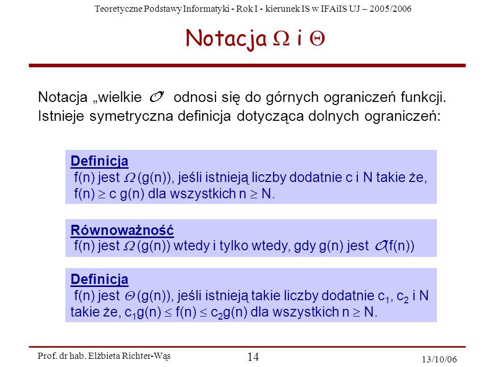 """Notacja W i Q Notacja """"wielkie O odnosi się do górnych ograniczeń funkcji. Istnieje symetryczna definicja dotycząca dolnych ograniczeń:"""