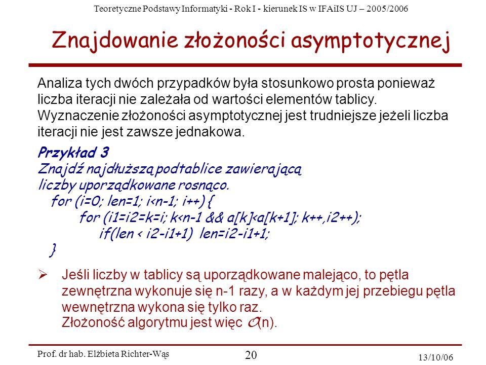 Znajdowanie złożoności asymptotycznej