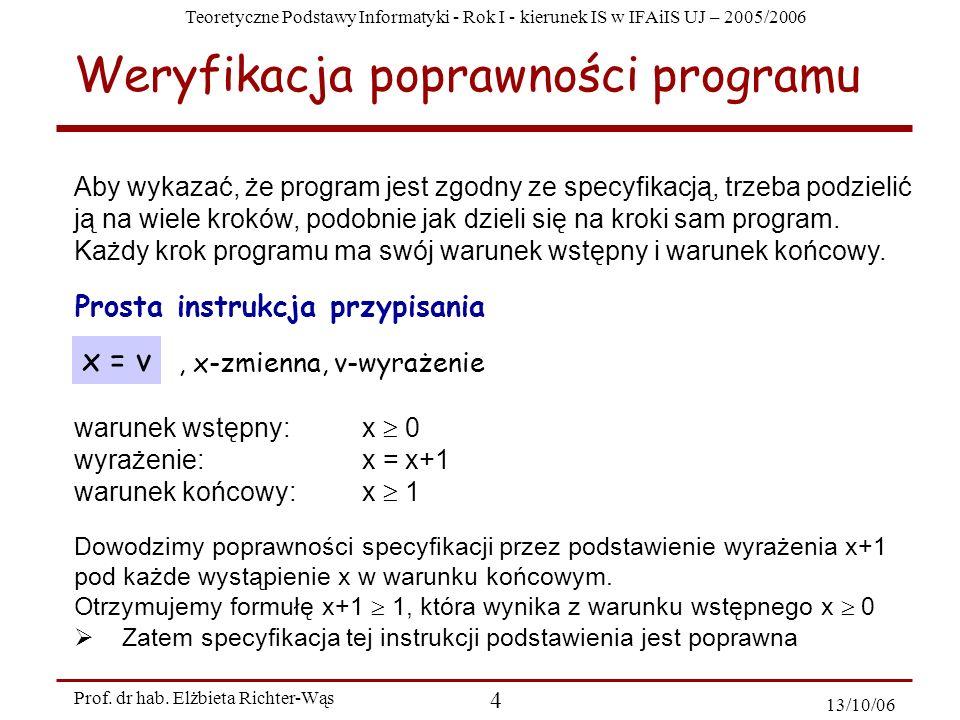 Weryfikacja poprawności programu