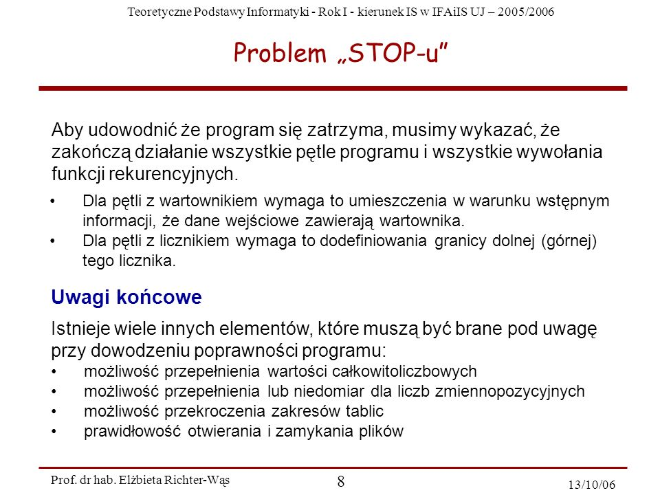 "Problem ""STOP-u Uwagi końcowe"
