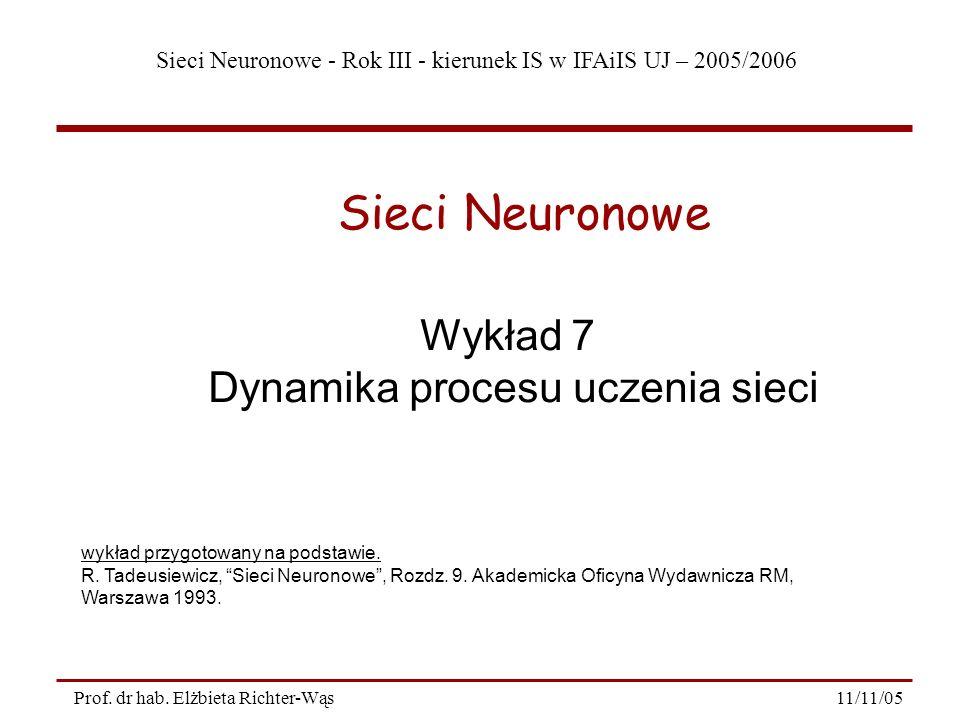 Dynamika procesu uczenia sieci