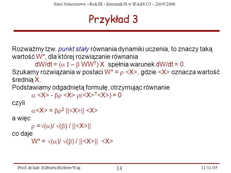 Przykład 3 Rozważmy tzw. punkt stały równania dynamiki uczenia, to znaczy taką wartość W*, dla której rozwiązanie równania.