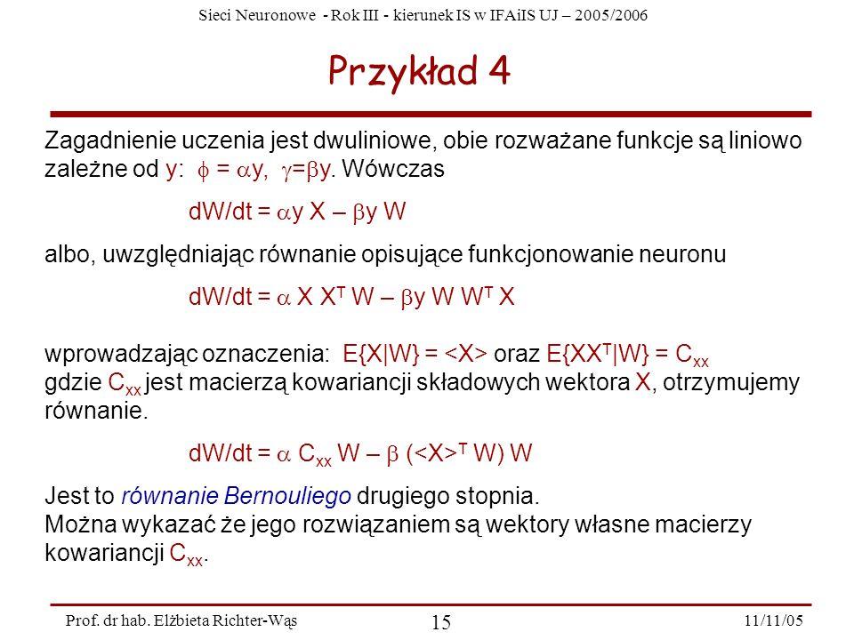 Przykład 4 Zagadnienie uczenia jest dwuliniowe, obie rozważane funkcje są liniowo zależne od y: f = ay, g=by. Wówczas.