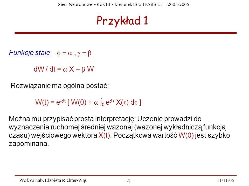 Przykład 1 Funkcje stałe: f = a , g = b dW / dt = a X – b W