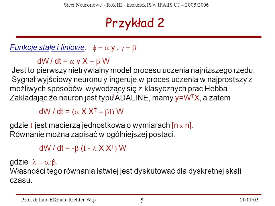 Przykład 2 Funkcje stałe i liniowe: f = a y , g = b
