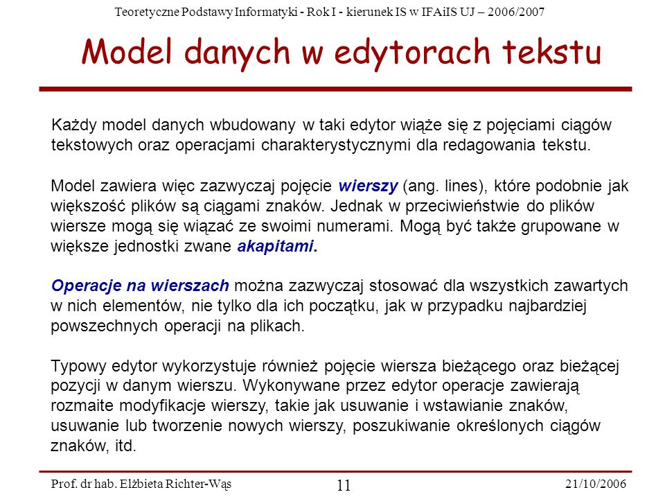 Model danych w edytorach tekstu