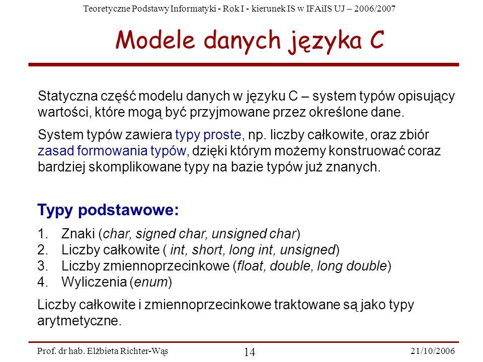 Modele danych języka C Typy podstawowe: