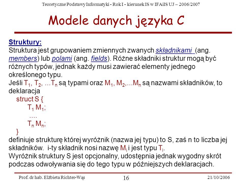 Modele danych języka C Struktury: