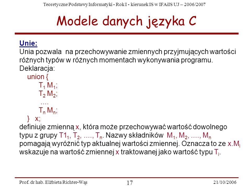 Modele danych języka C Unie: