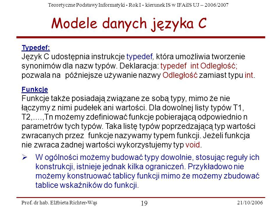 Modele danych języka C Typedef: