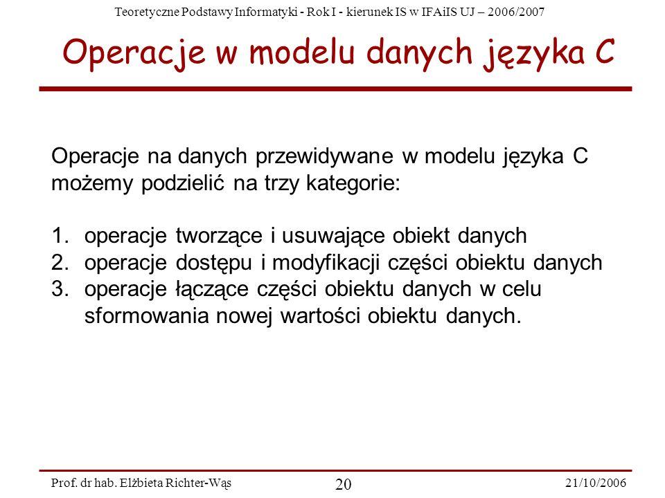 Operacje w modelu danych języka C