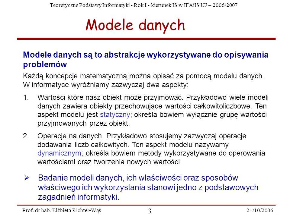 Modele danych Modele danych są to abstrakcje wykorzystywane do opisywania problemów.