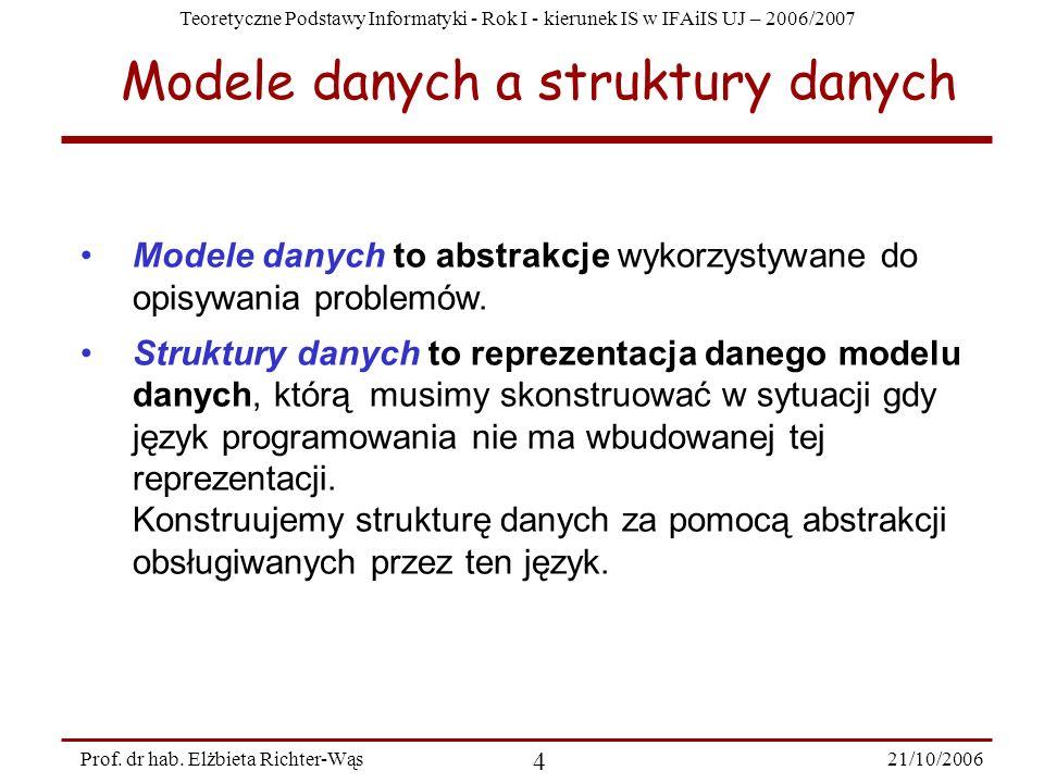Modele danych a struktury danych