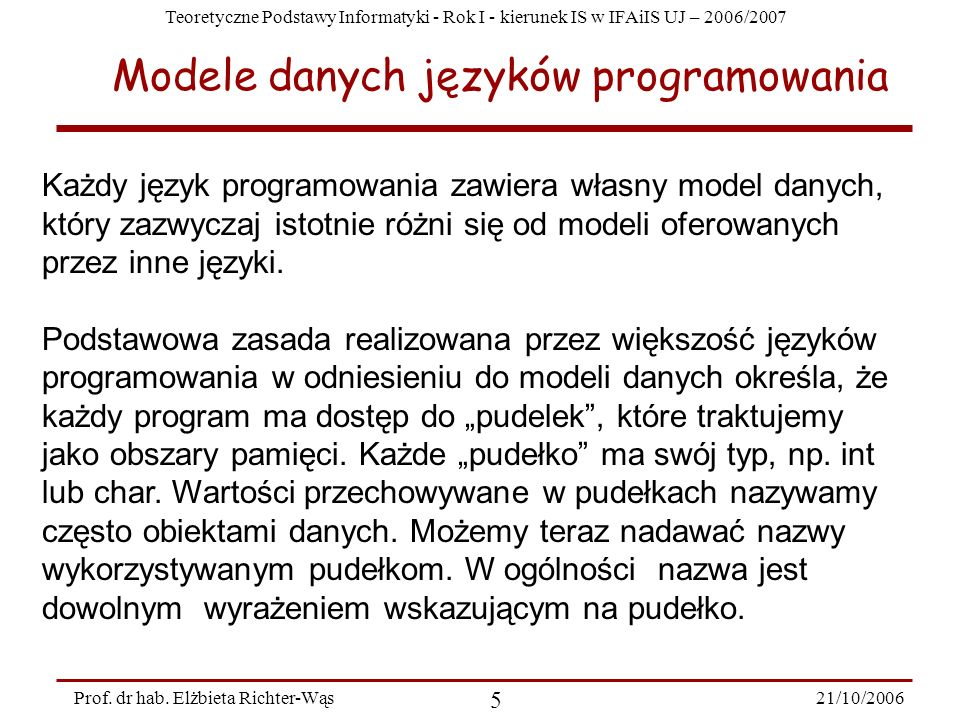 Modele danych języków programowania