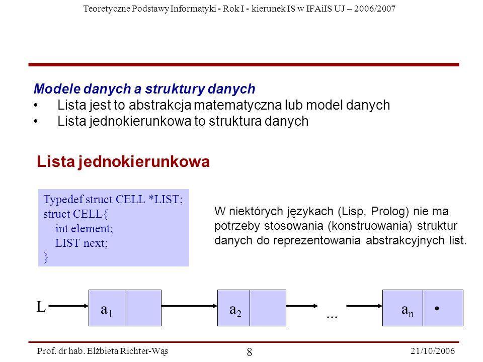 a1 a2 an • ... L Modele danych a struktury danych