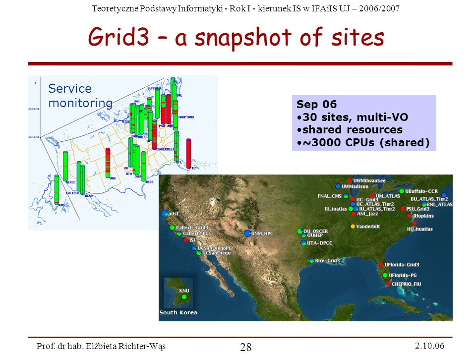 Grid3 – a snapshot of sites