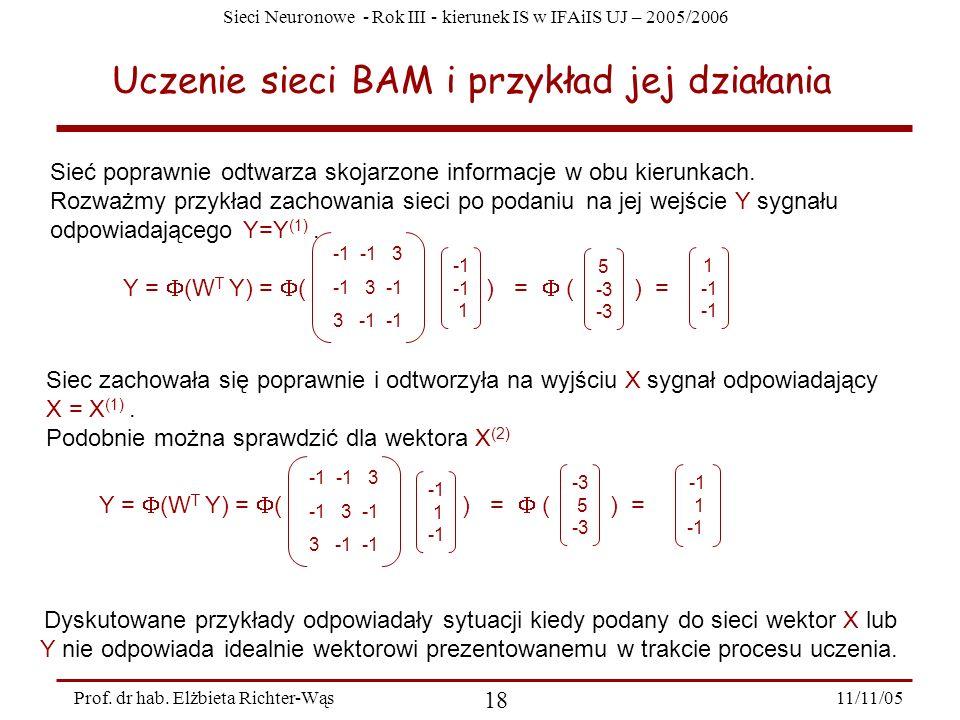 Uczenie sieci BAM i przykład jej działania