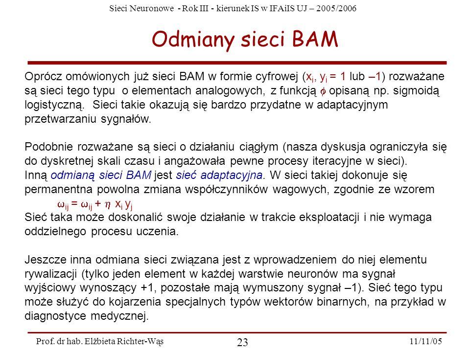 Odmiany sieci BAM