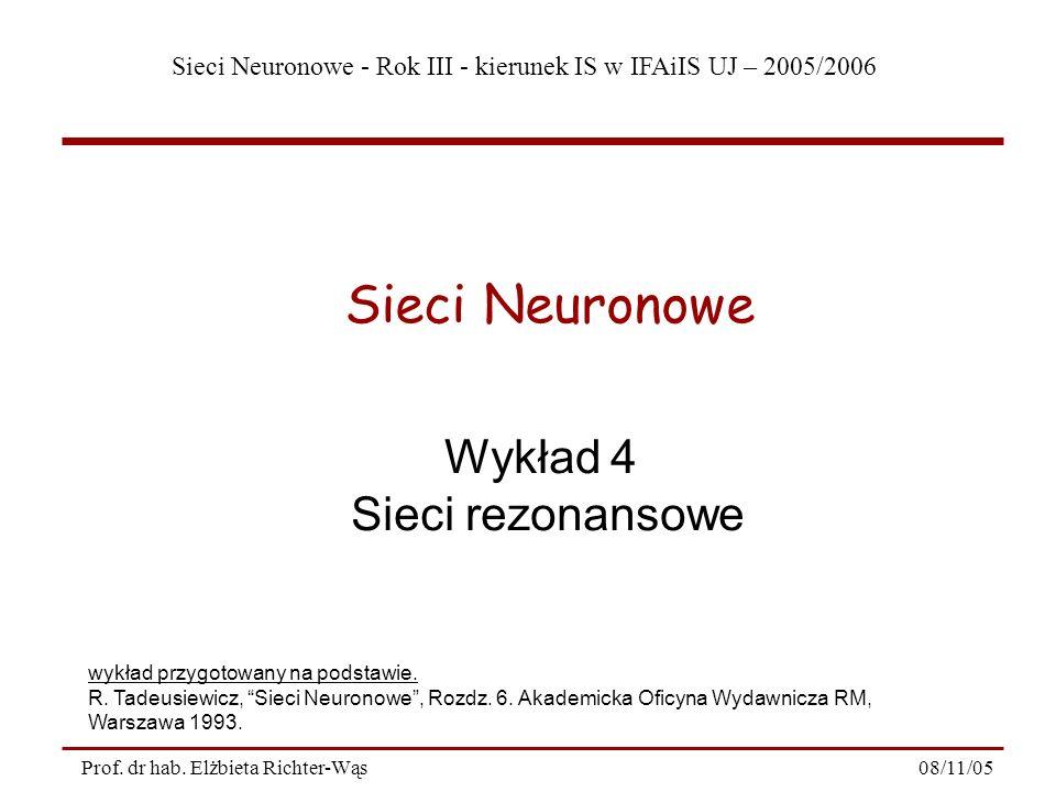 Sieci Neuronowe Wykład 4 Sieci rezonansowe