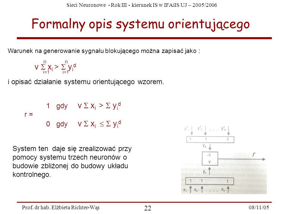 Formalny opis systemu orientującego