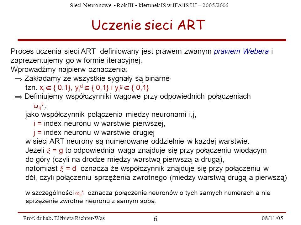 Uczenie sieci ART Proces uczenia sieci ART definiowany jest prawem zwanym prawem Webera i. zaprezentujemy go w formie iteracyjnej.