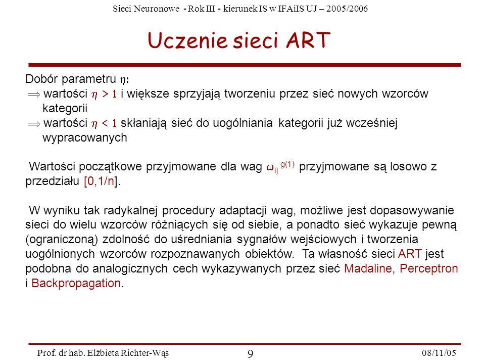 Uczenie sieci ART Dobór parametru h: