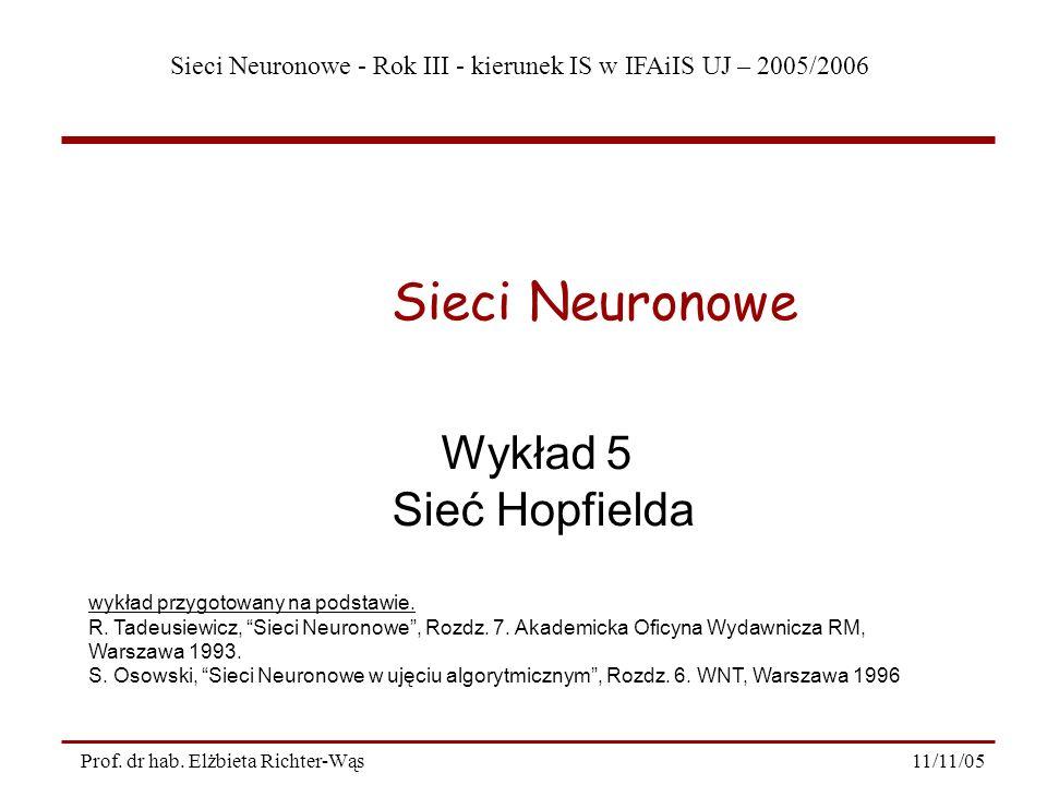 Sieci Neuronowe Wykład 5 Sieć Hopfielda