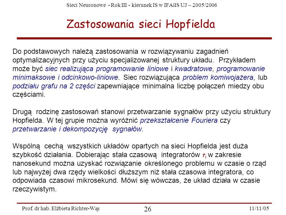 Zastosowania sieci Hopfielda