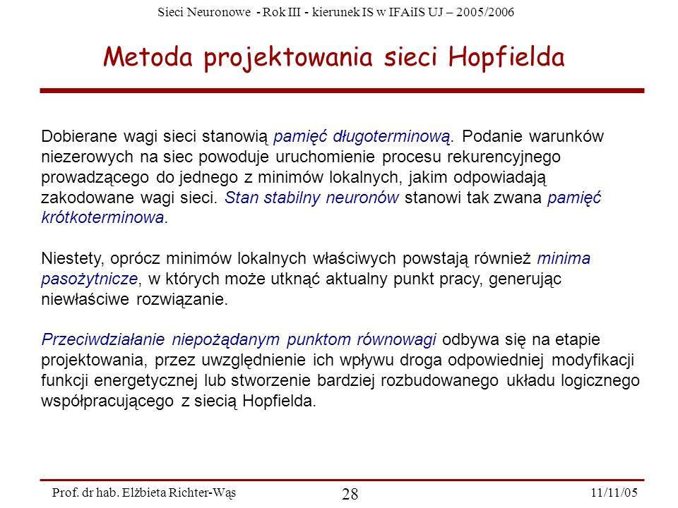 Metoda projektowania sieci Hopfielda