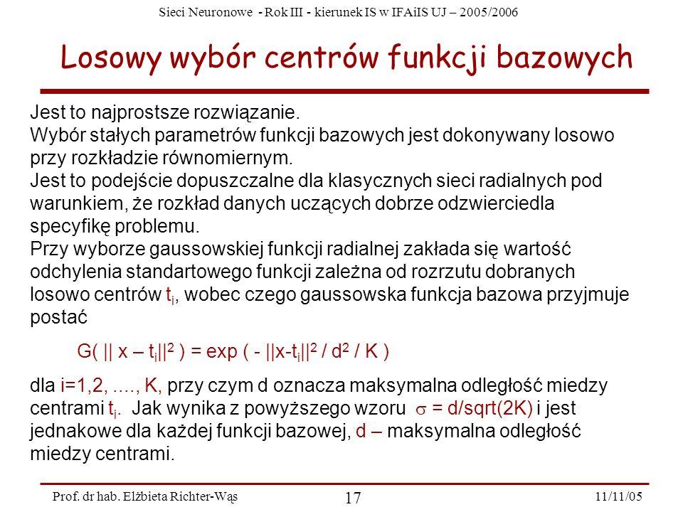 Losowy wybór centrów funkcji bazowych