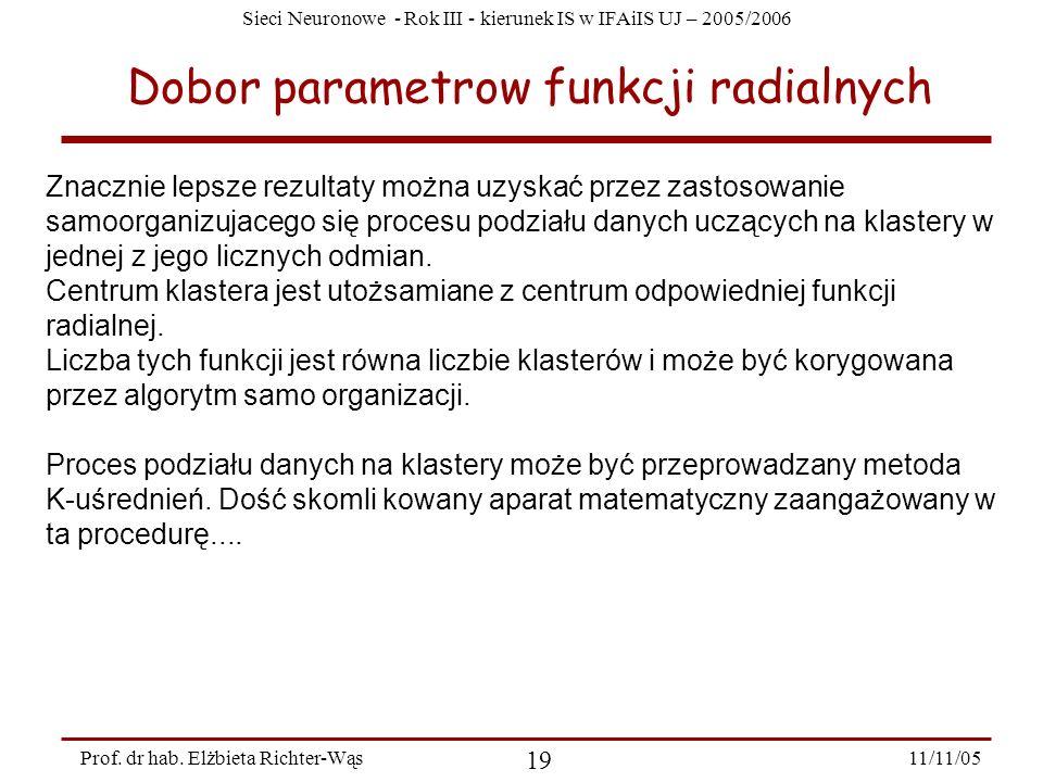 Dobor parametrow funkcji radialnych