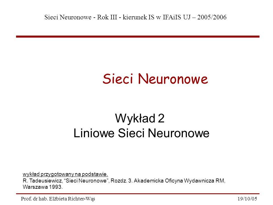 Liniowe Sieci Neuronowe