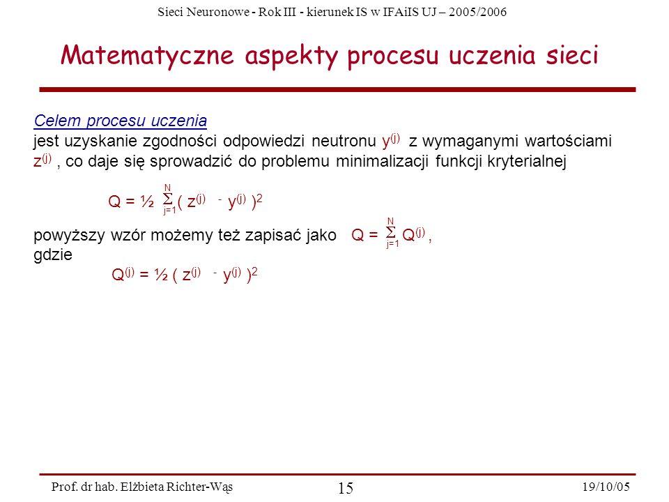 Matematyczne aspekty procesu uczenia sieci