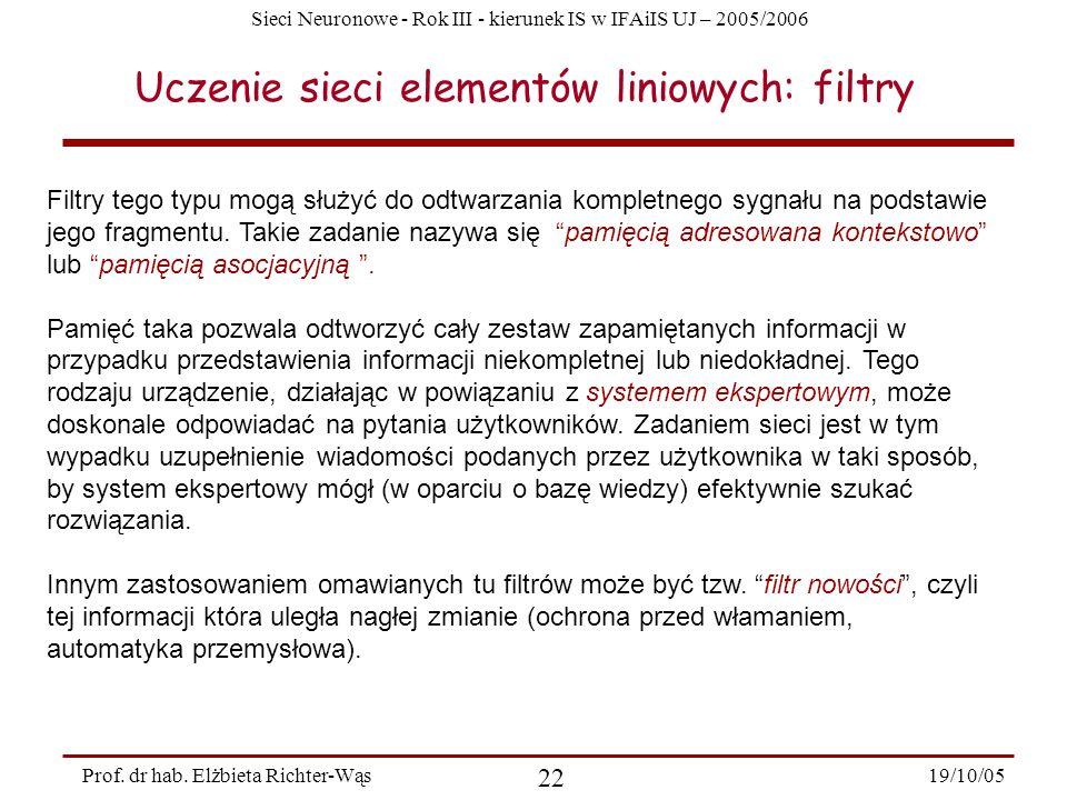 Uczenie sieci elementów liniowych: filtry