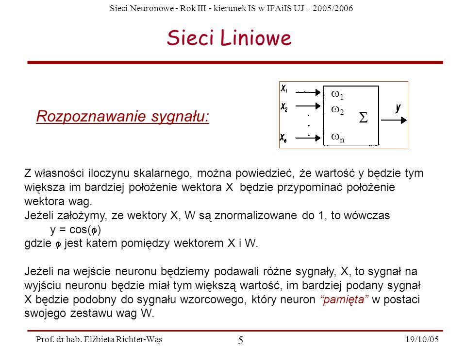 Sieci Liniowe Rozpoznawanie sygnału:  1 2 n