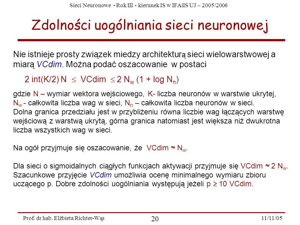 Zdolności uogólniania sieci neuronowej